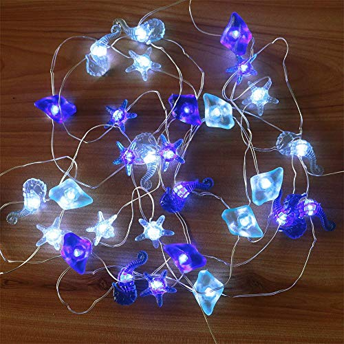 AMARS Seahorse Starfish Sea Glass Decorative String Lights,Beach Nautical Ocean Theme Lights Battery Operated,13Ft 40leds Fairy Lights for Bedroom Tent Wedding Party Ornament (Ornament Glass Christmas Starfish)
