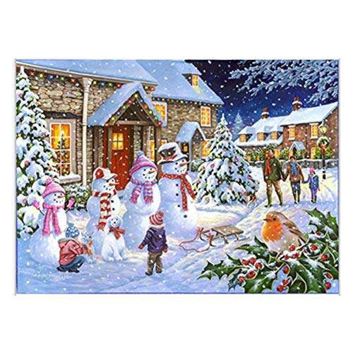 RNTOP Wall Decor 5D Diamond Painting, Diamond Painting with Kits, Full Drill Round Rhinestone DIY Animal Diamond Painting Christmas Home Decor Fashion Snowman 2530cm