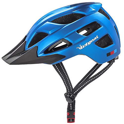 VICTGOAL Adult Cycling Bike Helmet with Detachable Visor Insect Net Padded Cycle Helmet Lightweight Bicycle Helmets for Men and Women (Blue) - Blue Ladies Visor