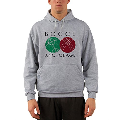 Vapor Apparel Anchorage Bocce Ball Performance Hoody Sweatshirt Large Ash - Anchorage Clothing Mens