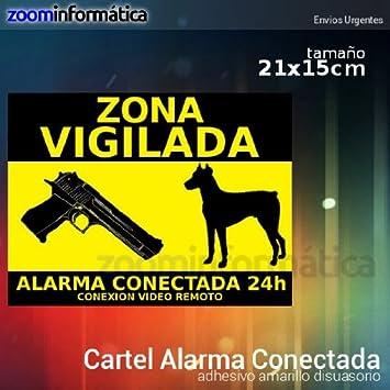alarmaszoom Cartel Alarma RIGIDO CONECTADA VIGILANCIA DISUASORIO Perro Pistola VIGILANCIA Casas Campo DISUASORIA para Uso Exterior Seguridad CAMARAS ...