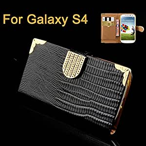 Luxury Pu Flip Leather Wallet Bags Stand Design Mobile Phone Cases Lizard Pattern Back Cover For Samsung Galaxy S6 S5 S4 S3 Case Black For Galaxy S4-Black For Galaxy S4