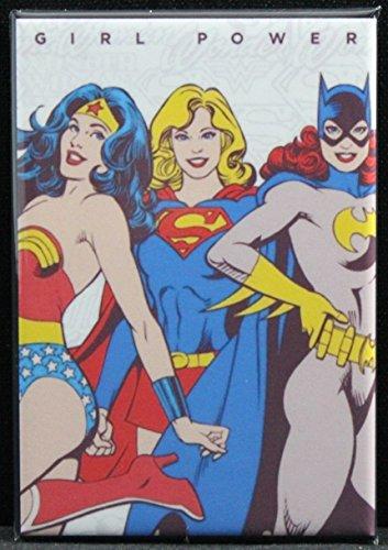Girl Power Refrigerator Magnet. Wonder Woman, Supergirl & Batgirl