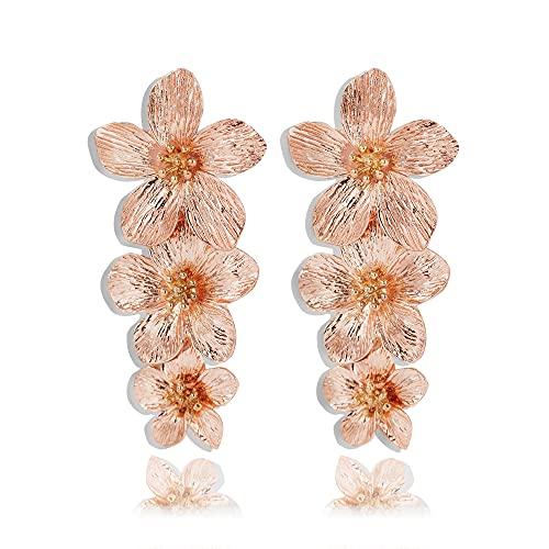 Large Metal Flower Earrings for Women, Gold Dangle Flower Earrings, Boho Statement Earring, Great for Party, Wedding, Shopping, Dating (rose gold flower earrings)