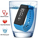 Fitness Tracker - FUNBOT Smart Bracelet IP67 Waterproof Heart Rate Blood Pressure & Blood Oxygen Monitor and Sleep Monitor Pedometer Calorie Counter Fitness Wristband for Android and iOS (Blue)