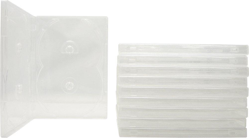 (10) Clear Quad 4-Disc Overlap Style DVD Cases / Boxes - DV4R14CL