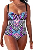 Kisscy Women's Plus Size Tropical Tribal Print Strappy 1PC Monokini Swimsuit 3XL