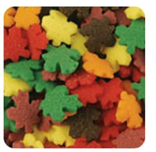 Oasis Supply Halloween, Fall, and Thanksgiving Sprinkle Shaped Cake Topper Quins, Fall Leaves, 6 ()