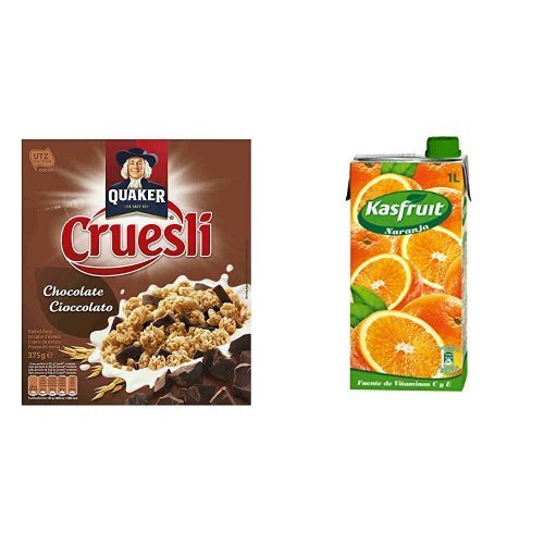 Quaker - Cruesli Chocolate 375 g + Kas Néctar de Naranja a Partir de Concentrado con Edulcorantes y Vitaminas - 1000 ml: Amazon.es: Alimentación y bebidas