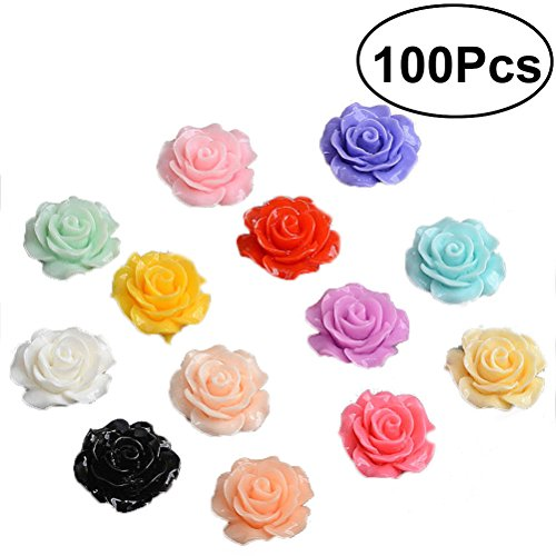 Healifty 18mm Resin Rose Flowers Beads Flatback DIY Crat Scrapbooking Ornament 100PCS (Assorted Color) (Roses Assorted 18)