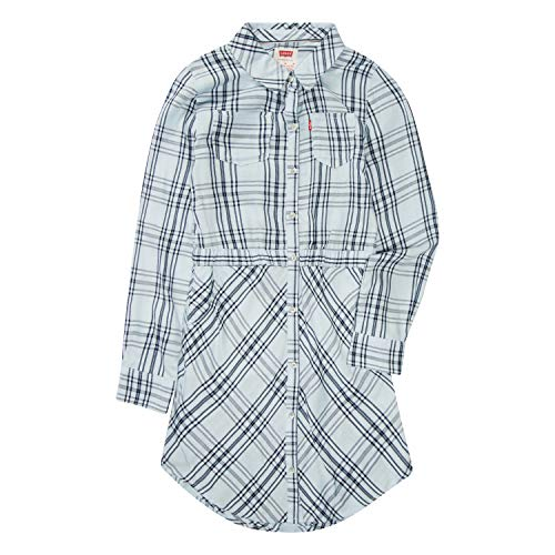 Levi's Girls' Little Long Sleeve Western Dress, Medieval Blue, 6X]()