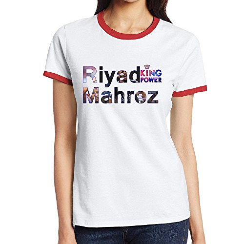 [Custom Women's Fashion Two-toned Shirts Riyad Mahrez Leicester City Red Size M] (Miss Nicaragua Costume)