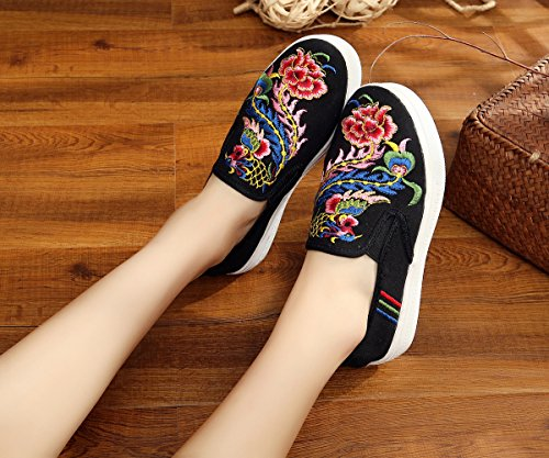 Jane Da Phönix Icegrey Scarpe Ballerine Sneaker Mano Ricamato Nero Plateau A Donna Mary x8PAYwqZ8