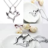 phitak shop Wonderful His and Hers Stainless Steel Love You Heart Couple Pendant Necklace