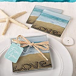 Beach Love Themed Set Of 2 Glass Coasters Summer Wedding Favors , 36