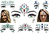 6 Stick On Face Jewels Sets, Gems, Glitter, Gem-Stones, Rhinestones Stickers, Temporary Tattoo - Self-Adhesive, Bindi, Indian, Mermaid Crystals. Accessories For Body, Women, Festivals, Rave, or Party