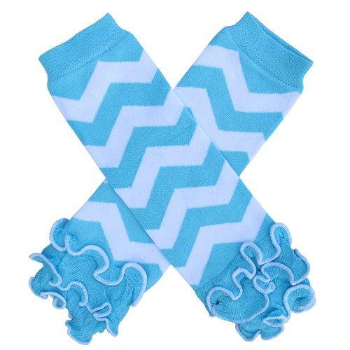 Turquoise Polka Dot Ruffle - So Sydney Baby Toddler Little Girl Ruffle Bottom Polka Dot & Stripe Leg Warmers (Ruffle Chevron Turquoise Blue)