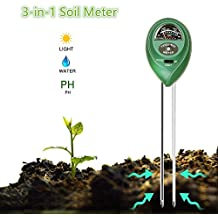 Fezep Soil PH Meter, 3-in-1 Soil Moisture pH and Light Meter for for Indoor & Outdoor Plants Soil Tester Kits, Easy to Use and Fast Read (No Battery Needed)