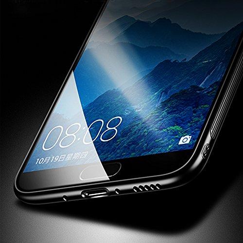 Funda para Huawei Honor View 10, Solid Color SXUUXB Huawei Honor View 10 [3 en 1] Elegante Paragolpes Slim + Plástico Duro para PC Espalda + Tapa de Vidrio Templado Antideslizante Protector Caja para  Rosado