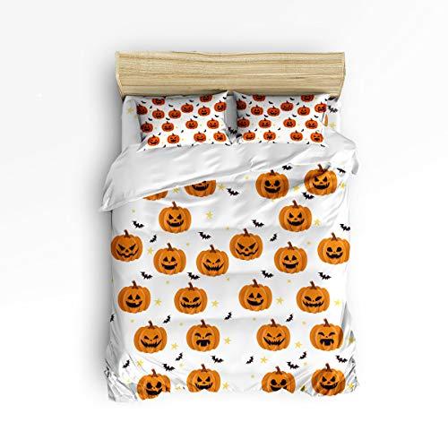 EZON-CH King Size Duvet Cover Set Comfortable Bedding Sets,Halloween Pumpkin Bat Star White Soft Bed Sets for Adult Teen Kids Girls Boys,Include 1 Duvet Cover 1 Bed Sheets 2 Pillow Case -