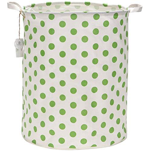 Sea Team 19.7 Large Sized Waterproof Coating Ramie Cotton Fabric Folding Laundry Hamper Bucket Cylindric Burlap Canvas Storage Basket with Stylish Greenery Polka Dot Design