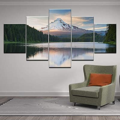 Natural Green Forest Landscape 5 Pieces Canvas Wall Home Decor Poster Artwork