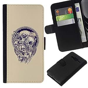All Phone Most Case / Oferta Especial Cáscara Funda de cuero Monedero Cubierta de proteccion Caso / Wallet Case for Samsung Galaxy Core Prime // Skull Wreath Beige Blue Purple Death
