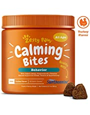 Zesty Paws Calming Treats Dogs - Anxiety Composure Relief with Suntheanine - Kelp & Valerian Root + L Tryptophan Dog Stress & Separation Aid in Fireworks, Thunder + Chewing & Barking - 90 Chews