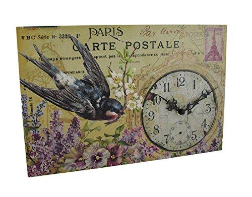 Bluebird Clock (Zeckos Wood Wall Clocks Floral Bluebird Paris Postcard Theme Decorative Wall Clock 15 X 10 X 1 Inches Blue)