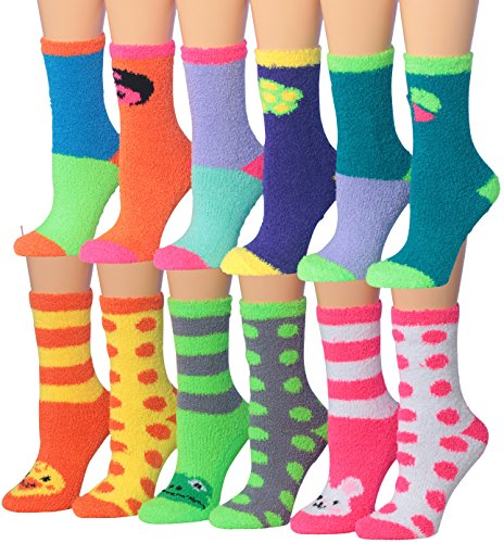 Tipi Toe Women's 12-Pairs Soft Anti-Skid Fuzzy Winter Crew home slipper Socks, (sock size 9-11) Fits shoe size 6-9, ()