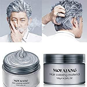 MOFAJANG Hair Color Wax,Instant Silver Grey Hair Wax,Temporary Hairstyle  Cream 4.23 Oz