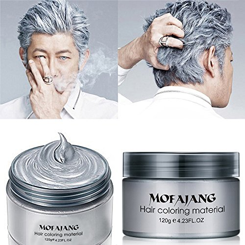 MOFAJANG Hair Color Wax Instant Silver Grey Hair Wax Temporary Hairstyle Cream 4.23 oz Silvery Grey Hair Pomades Natural Silver Ash Matte Hairstyle Wax for Men and Women (Ash Matte Grey)