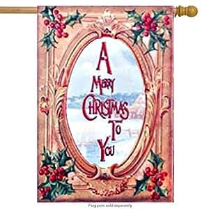 """Feliz Navidad casa bandera Vintage primitiva vacaciones Patio Banner 28""""X 40"""""""