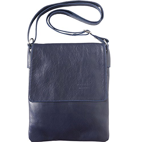 - Soft Leather Cross Body Bag Made with Genuine and Soft Calf Leather 416 (Navy blue)