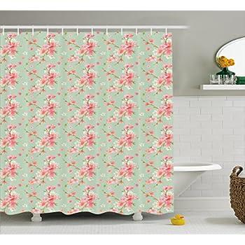 Amazon.com: Patchwork Shower Curtain Flowers Geometric Colorful ...
