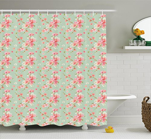 Ambesonne Shabby Chic Shower Curtain, Retro Spring Blossom Flowers with French Garden Florets Garland Artisan Image, Fabric Bathroom Decor Set with Hooks, 70 Inches, Mint Pink