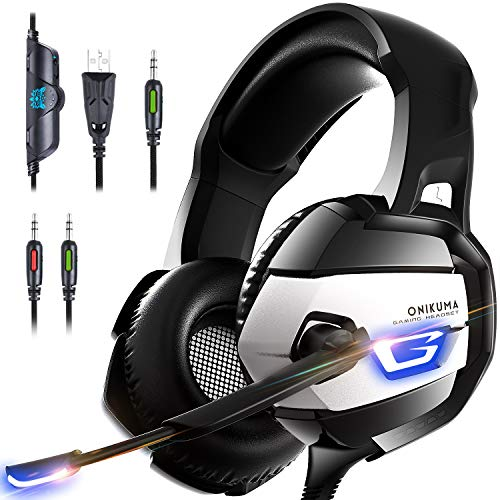Xbox One Gaming Headset - ONIKUMA Xbox One Headset [2019 K5 Pro] with Noise Canceling Mic &7.1 Surround Bass, Over Ear Gaming Headphones with LED Light for Xbox One, PS4, PC, Mac, Laptop, NS