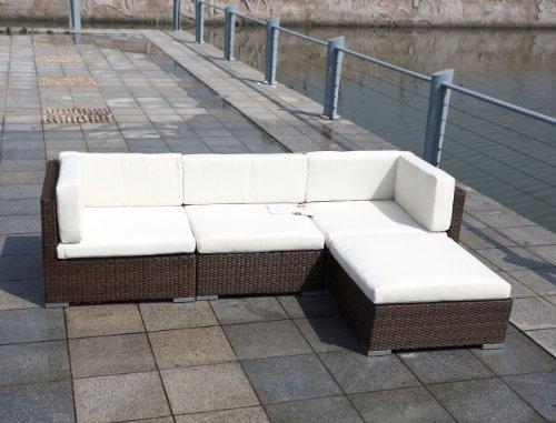 Lounge ecksofa garten  Amazon.de: Polyrattan Lounge Set COPA braun Eckcouch Terrasse