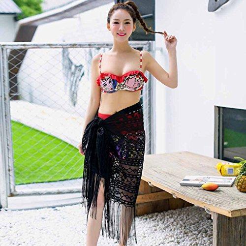 Pantalones planos Traje de baño de bikini Acero femenino Tamaño de la bandeja de pecho Recoger la camisa de borla negro
