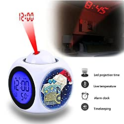 Projection Alarm Clock Wake Up Bedroom with Data and Temperature Display Talking Function, LED Wall/Ceiling Projection,Customize the pattern-788.The Last Shirt, Christmas, Bank Note, Donate