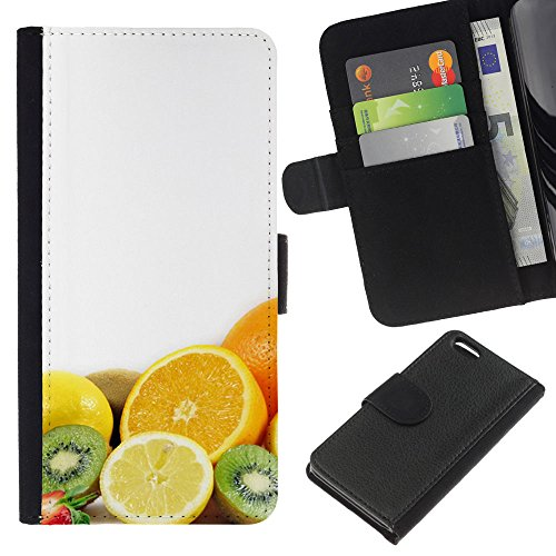 Lead-Star (Fruit Macro Fruits Combo) Colorful Impression Holster Cuir Wallet Cover Housse Peau Cas Case Coque Pour Apple iPhone 5C