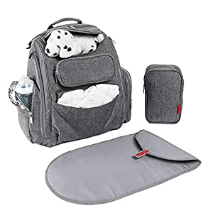 Diaper Bag Backpack by Bag Nation | Large Capacity Unisex Baby Bag with Stroller Straps, Changing Pad and Sundry Bag…