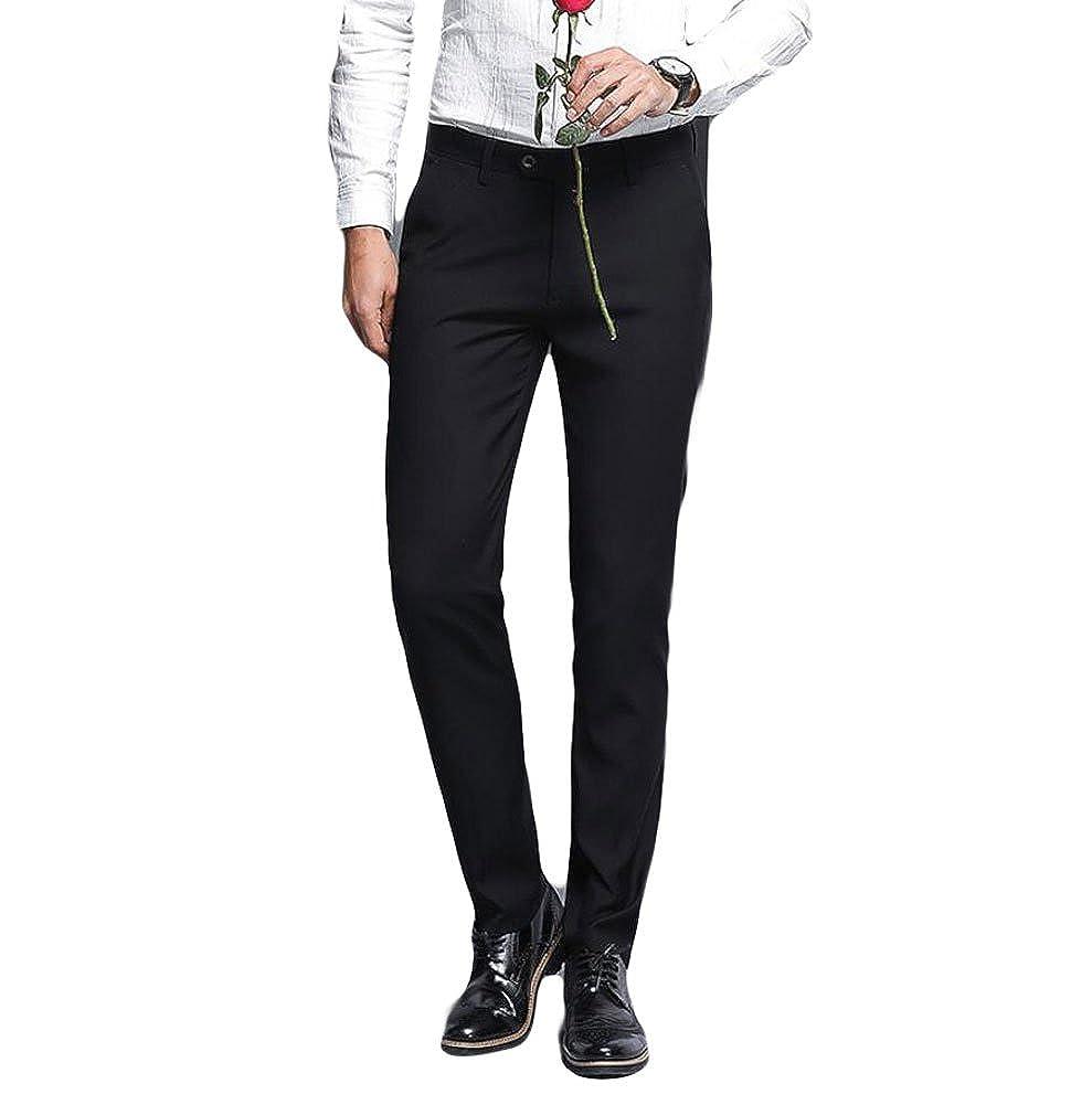 Mens Formal Suit Pants Slim Fit Flat Front Dress Pants Business Separate Pants