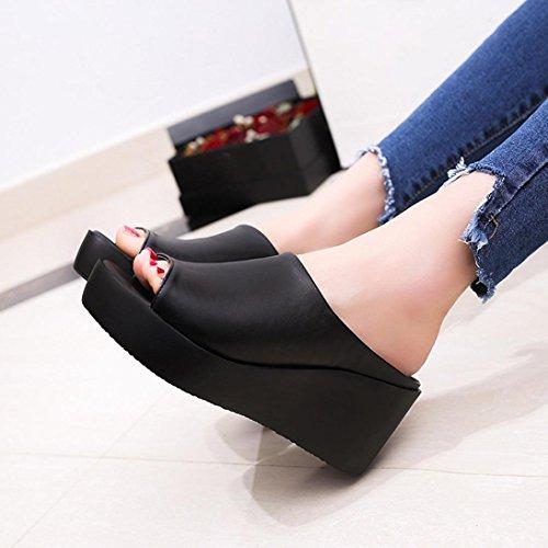 Sommer Schuhe Sandalen Damen High Schwarz Ladies mit Wedges Casual Sandalen Keilabsatz Transer® Hausschuhe Platforms Komfortable WpU0nPg