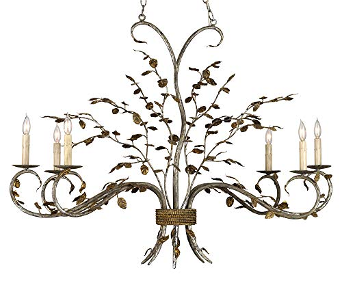 Currey and Company 9021 Raintree - Six Light Chandelier, Viejo Gold Leaf/Viejo Silver Leaf Finish with Shade Option