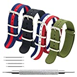 Nato Strap 4 Packs - 20mm 22mm Premium Ballistic Nylon Watch Bands Zulu Style with Stainless Steel Buckle (Black+Navy Red+Army Green+Red White Navy, 22mm)