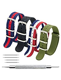 Nato Strap 4 Packs 18mm 20mm 22mm Premium Ballistic Nylon Watch Bands Zulu Style with Stainless Steel Buckle (22mm, Black+Navy Red+Army Green+Red White Navy)
