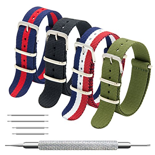CIVO NATO Strap 4 Packs - 20mm 22mm Premium Ballistic Nylon Watch Bands Zulu Style with Stainless Steel Buckle (Black+Navy Red+Army Green+Red White Navy, 18mm)
