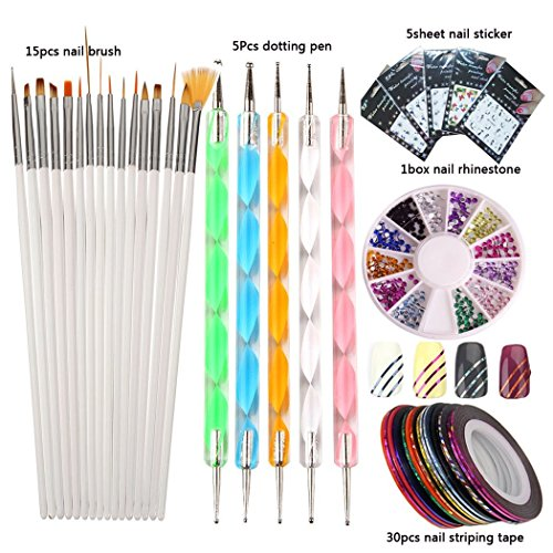 LoveOurHome Nail Art Tools Manicure Kit Nail Painting Brush Dotting Pen Nails Rhinestones Decoration Sticker Decal Striping Tape Pedicure Set (01)
