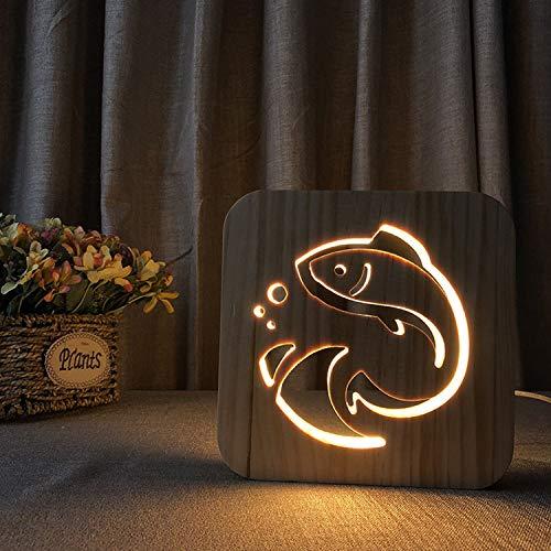 (3D Wooden Night Light, LED Wood Engraving Desk Lamp USB Shadow Light Bedroom Bedside Lamp, Halloween Christmas Valentine's Day Children's Day Gift(Fish))